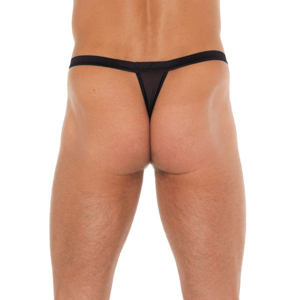Mens Black GString With Red Pouch