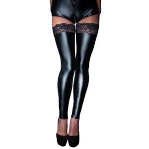 Noir Handmade Black Footless Lace Top Stockings