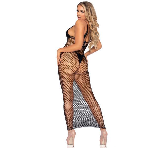 Leg Avenue Woven Twist Net Maxi Dress Black UK 8 to 14