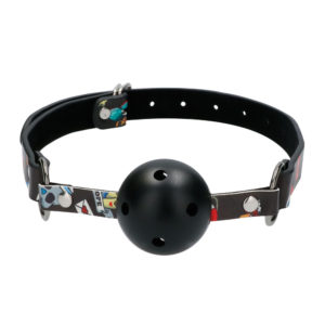 Ouch Breathable Ball Gag With Printed Leather Straps